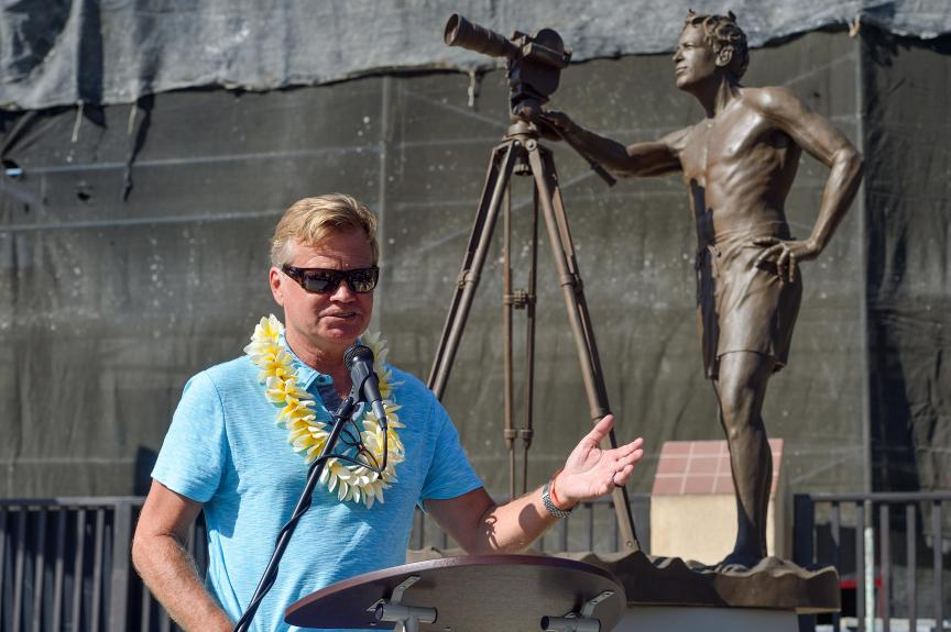 Remember The Endless Summer? Statue of filmmaker Bruce Brown joins other surf icons in Dana Point